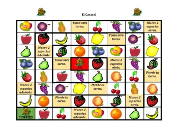Frutas y Verduras (Fruits and Vegetables in Spanish) Caracol Snail Game