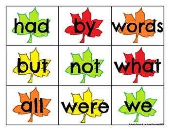 Fry 1-100 Sight Word Cards Autumn