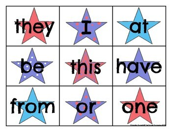 Fry 1-100 Sight Word Cards Patriotic Theme