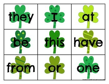 Fry 1-100 Sight Word Cards Saint Patrick's Day