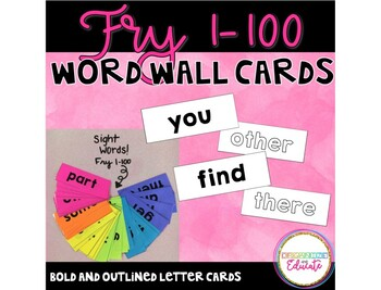 Fry 1-100 Word Wall Words and Flashcards
