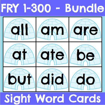 Fry 1-300 Seasonal Sight Word Cards Bundle
