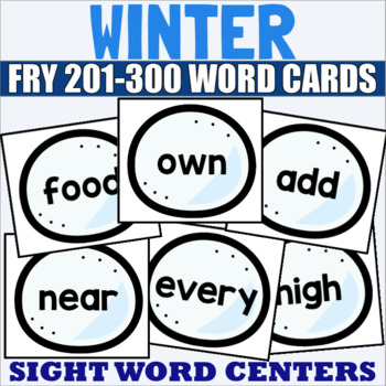 Fry 1-300 Sight Word Cards Winter Bundle