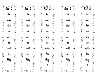 Fry 1 to 200 high frequency word strips