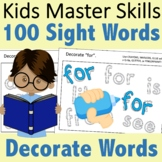 Fry 100 Sight Words - Decorate Words for Practice