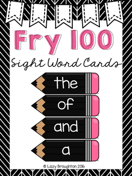 Fry 100 Word Wall Sight Word Cards- Black