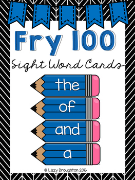 Fry 100 Word Wall Sight Word Cards- Blue