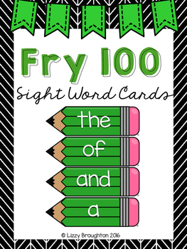 Fry 100 Word Wall Sight Word Cards- Green