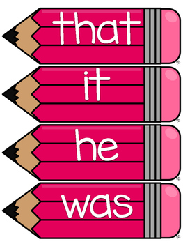 Fry 100 Word Wall Sight Word Cards- Pink
