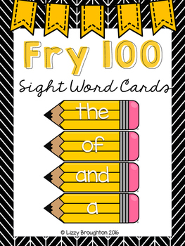 Fry 100 Word Wall Sight Word Cards- Yellow