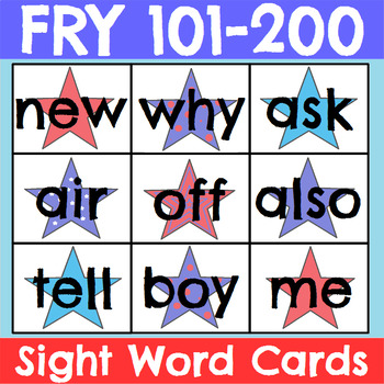Fry 101-200 Sight Word Cards Patriotic Theme