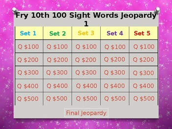 Fry 10th 100 Sight Words Jeopardy Power Point #1