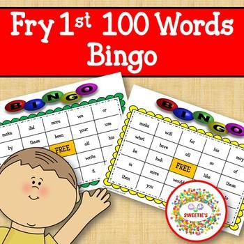 Fry Sight Words 1st 100 List Bingo