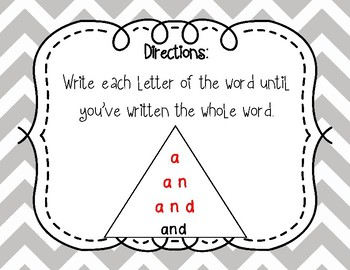 Fry 1st 100 Pyramid Writing Practice