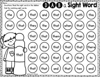 Fry's 1st 100 Sight Words - Dab a Sight Word