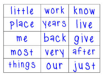Fry 1st 200 Words Word Wall Cards