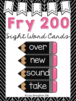Fry 200 Word Wall Sight Word Cards- Black