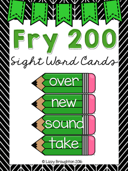 Fry 200 Word Wall Sight Word Cards- Green