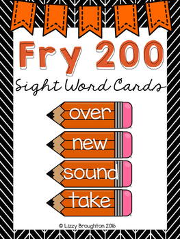 Fry 200 Word Wall Sight Word Cards- Orange
