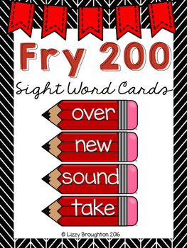 Fry 200 Word Wall Sight Word Cards- Red
