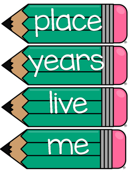 Fry 200 Word Wall Sight Word Cards- Turquoise