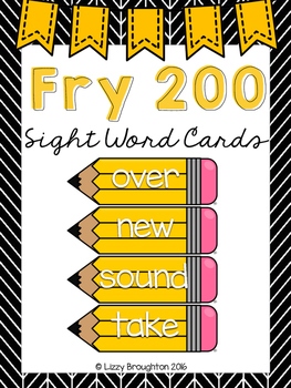 Fry 200 Word Wall Sight Word Cards- Yellow
