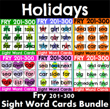 Fry 201-300 Sight Word Cards Holiday Bundle