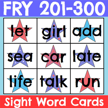Fry 201-300 Sight Word Cards Patriotic Theme