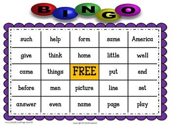 Fry Sight Words 2nd 100 List Bingo
