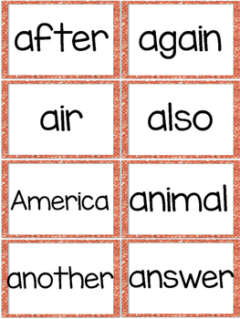 Fry 2nd 100 Sight Words #101-200 - Word Wall Cards - ORANGE Glitter