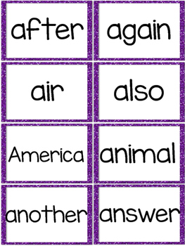 Fry 2nd 100 Sight Words #101-200 - Word Wall Cards - PURPLE Glitter