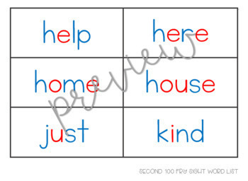 Fry 2nd 100 Sight Word Cards
