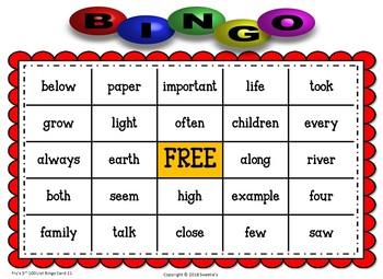 Fry Sight Words 3rd 100 List Bingo