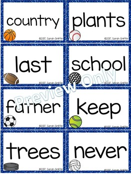 Fry 3rd 100 Sight Words #201-300 - Sports Theme
