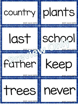 Fry 3rd 100 Sight Words #201-300 - Word Wall Cards - BLUE Glitter