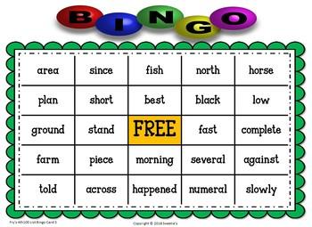 Fry Sight Words 4th 100 List Bingo
