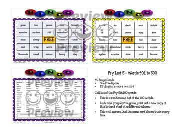 Fry Sight Words 5th 100 List Bingo
