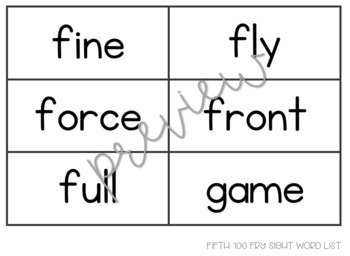 Fry 5th 100 Sight Word Cards