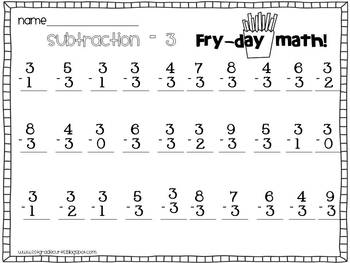 Fry Day Math: Subtraction Edition!