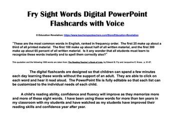 Fry Digital Sight Word PowerPoint Flashcards (Fry Words 1 - 100)