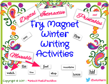 17 Fry Interactive Digital Winter Magnet Writing Boards 100 Fry Words -Printable