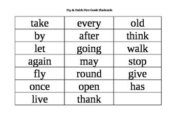 Fry & Dolch First Grade Sight Words 1-41 Flash Cards