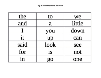 Fry & Dolch Pre-Primer Sight Words 1-40 Flash Cards