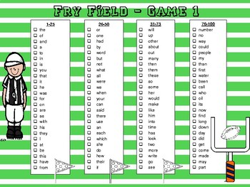 Fry Field - Football Themed Fry Word Checklist