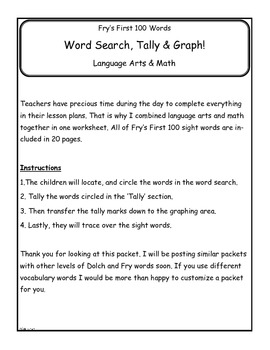 Fry First 100 Graph, Cut, Color, Read, Write Packet