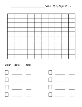 Fry First 100 Graphing Sheet for Self-Monitoring/Tracking