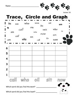 Fry First 100 Instant Words to Trace, Circle and Graph