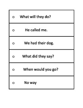 Fry First 100 Phrases Strips
