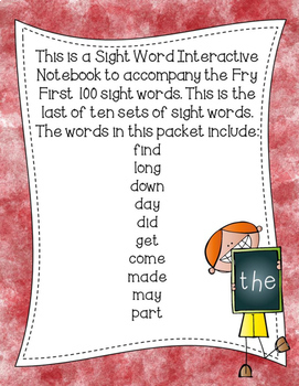Fry First 100 Set 1 Sight Word Interactive Notebooks Set 10