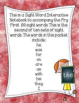 Fry First 100 Set 1 Sight Word Interactive Notebooks Set 2